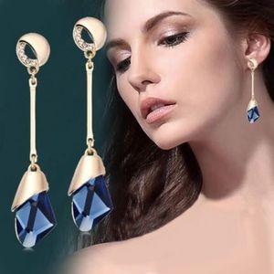 Gold & Blue Costume Earrings
